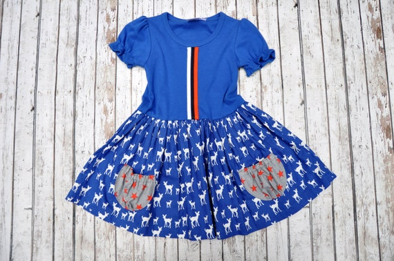 Royal Deer Pocket Dress 18/24 MTH