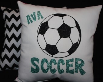 Personalized Soccer Pillow from Pillowshack NEW Glitter Collection