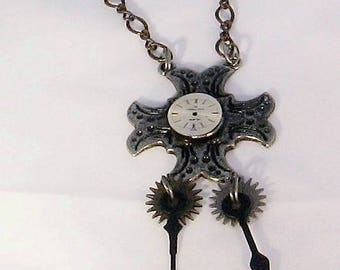 Necklace, pendant, steampunk, spinners, gears, clock face, F, jewelry