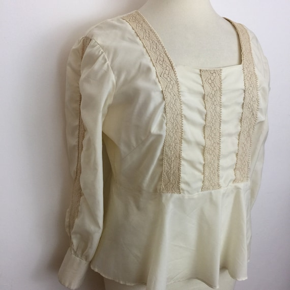 Vintage blouse cream Edwardian style 1920s nylon crochet ribbon trim embroidery peplum handmde plus size UK 18 steampunk LARP cosplay