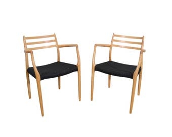 J.L. Moller Dining Chairs Model #62 Beech Dining Chairs Danish Cord