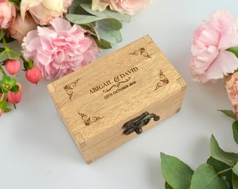 Engraved Wooden Ring Box with Velvet Lining