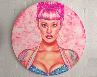 SALE Cyber Monday - Pink Cyber Babe - Original Acrylic Painting by Bobby Dazzler - Amazing Artwork