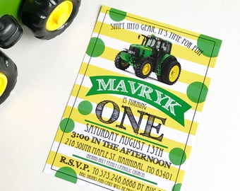 John Deere Birthday | shift into gear | Tractor | First Birthday |  Green ans Yellow | Birthday Party invitation | Digital File