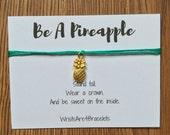 Custom Gold Pineapple Wish Bracelet - Best Friend Gift - Pineapple