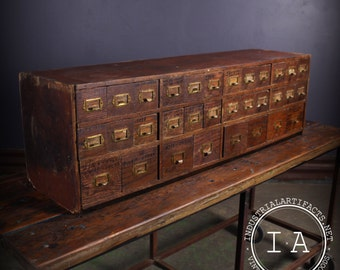Vintage Industrial Depression Era 32 Drawer Small Parts Hardware Cabinet
