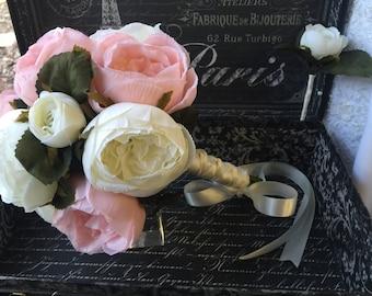 Wedding Bouquet Ivory Pink Rose Bridal Bouquet, Ivory Pink Wedding Bouquet Ivory Bouquet, Pink Bridal Bouquet Ivory Pink Silk Flower Bouquet