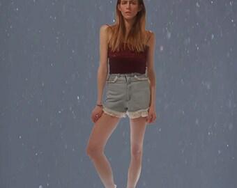 ruffly high-waisted denim shorts ~ 70's