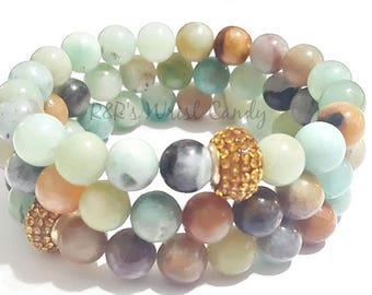 Mala Bracelets, Natural Amazonite Gemstone Beaded Bracelet, Stretchy, Minimalist, Rhinestone, Women, Custom Handmade Beaded Jewelry