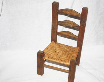 Vintage Wooden Doll Ladderback Chair Woven Reed Seat