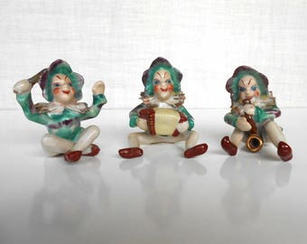 Occupied Japan Elf Pixie Musical  Figures 3 Band Members   / Band Leader / Accordion Player / Horn Player / Porcelain Figures / Green Purple
