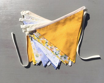 Pretty Vintage Style Fabric Bunting 15 Flags 4M Yellow & blue, ideal for parties / weddings / around home