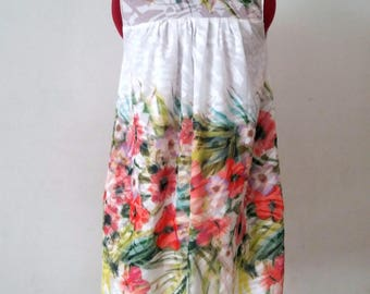 Short dress retro summer flowered white beach, asymmetrical Dress full summer boho smart