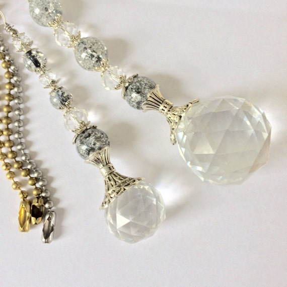 Grey Light Pull Ceiling Fan Pull Or Sun Catcher Crystal Ball