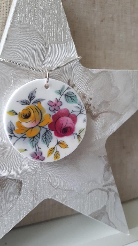 Unusual vintage broken china pendant