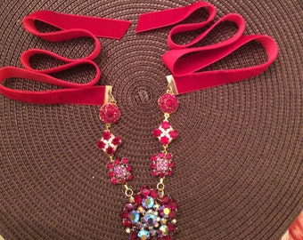 Upcycled Vintage Sparkling Red Rhinestone Necklace