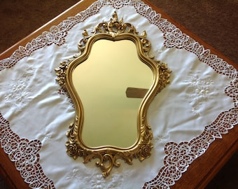 Vintage Syroco Gold Framed Hanging Mirror Hollywood Regency Mirror Syroco Mirror 1965