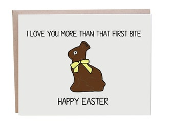 Easter Card, Funny Easter Card, Love, Chocolate Bunny, Easter Love