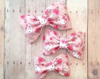 Hello kitty hair bow floral pink baby headband