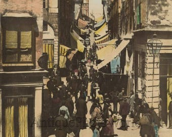 Venice street view people shops antique hand tinted photo by Bettini and Bonaldi