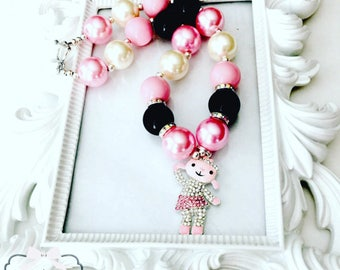 Pink Lambie Chunky Necklace, Lambie Gumball Necklace, Lambie Beaded Necklace, Lambie Rhinestone Jewekry, Lambie Pink Chunky Necklaces