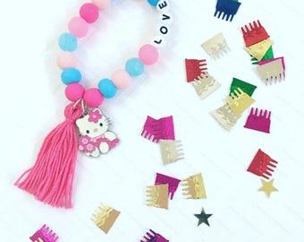 Personalized Beaded  Bracelet, Kitty Charm Bracelets, Personalized Girl's Beaded Bracelet, Kid's Tassel Bracelet, Girl's Charm Bracelet
