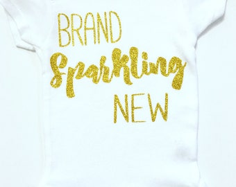 Brand Sparkling New Bodysuits, Bringing Baby Home Outfit, Baby Going Home Outfit, Brand Sparkling New, Newborn Glitter Bodysuit, Glitter Top