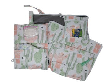 Fun + Trendy Cactus New Mom Gift Set- Diaper Clutch, Wet Bag, Changing Mat, Reusable Snack Bag