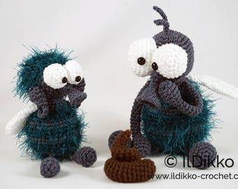 Amigurumi Crochet Pattern - Monsieur Mouche and Fleur the flies - English Version
