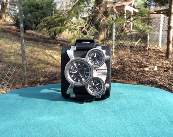 Mens Large Black Leather Cuff Watch with Three Timezones