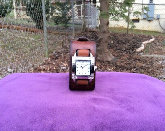 Women's Brown Leather Woven Cuff Watch with a Rhinestone Face
