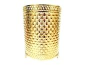 Vintage Gold Basketweave Waste Basket, Hollywood Regency, Gold Bath Decor, Guest Bath Decor, Waste Basket Sleeve