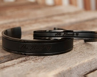 Personalized Gift Her Beast His Beauty Bracelet Set of Two Personalized Leather Bracelets for Girlfriend Boyfriend Gift Couples Bracelets
