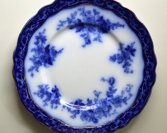 "Flow Blue Plate 8.75"" Touraine, Stanley England"