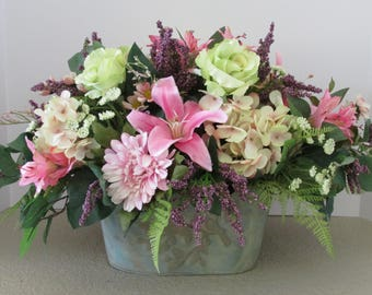 Silk Flower Floral Arrangement In Rustic Embossed Tin Container, Mother;s Day Gift, Home Decor Flower Centerpiece