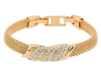 Jackie Kennedy GP Mesh Bracelet - 24K with Simulated Diamonds, Box and COA - Sz 7 or 8