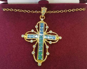 Jackie Kennedy 24K GP Cross Necklace - Simulated Ceylon Sapphire Cross, Box and Certificate