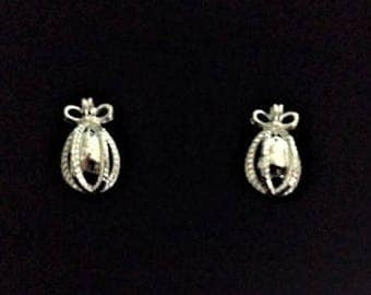 Joan Rivers Pierced Earrings - Egg Shape Silver Tone -          S2032