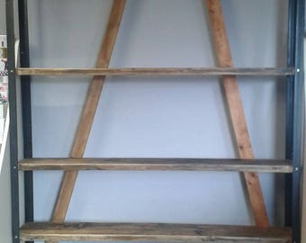 Industrial Made to order shelves made out of scaffolding boards