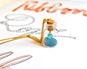 """Pretty """"By the sea"""" bottle pendant necklace, glass bottle necklace, vial necklace - memory necklace, mermaid necklace, mermaid jewelry"""