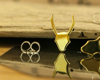 Earrings deer head polished brass silhouettes Hand cut, jewelry