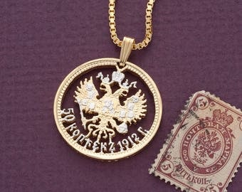 "Russian Imperial Eagle Pendant and Necklace, Russian 50 Kopeks coin Hand cut, 14 Karat Gold and Rhodium plated, 1 "" in Diameter, ( # 389 )"