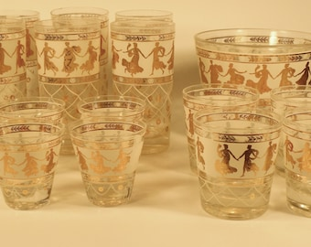 Greek Themed Gold Bar Glasses and Ice Bucket