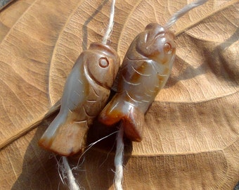 Pair Chinese Carved Jade Fish Pendant , Carved on both sides,Nephrite, Semiprecious Stone, Jewelry Making Supplies,24x9.5mm