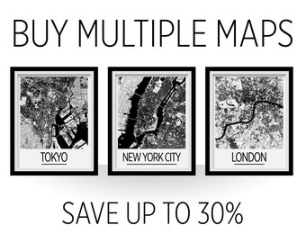 Multiple Maps Poster Set - Save up to 30% - Choose any City in the Collection