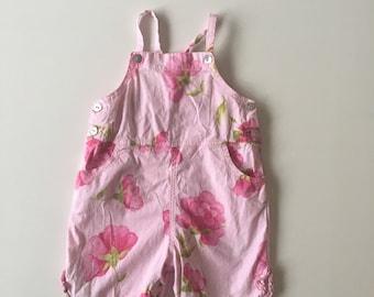 Vintage Pink Rose Print Overalls