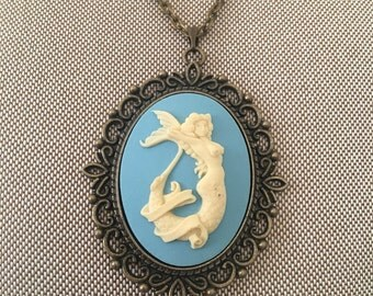 Mermaid Cameo Necklace on a Filigree Base
