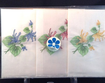 New in Package Vintage Three Cotton Hankies, Floral Embroidered Motif/Original Packaging