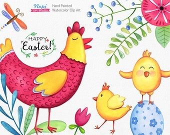 Easter Watercolor Clip Art, Easter Chicken, Easter Egg, Chick, Spring Flowers Leafs, Painted Cute Elements, Digital Clipart, DIY Baby Shower