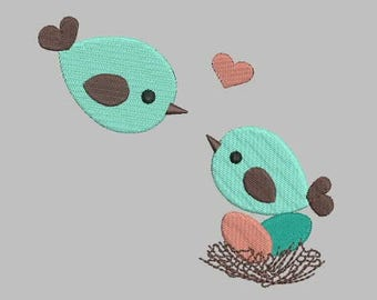 Love Birds Embroidery Design | Cute Two Birds with Heart Full Embroidery Pattern